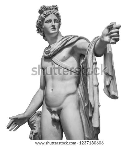 Famous roman greek copy of Apollo di belvedere sculpture isolated on white background.