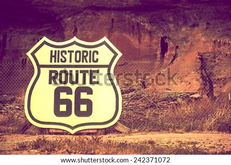 Famous Route 66 Large Crest Sign on the Fence. Arizona, United States.