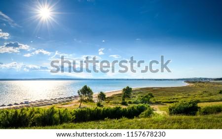 Famous Sabunike Beach on Privlaka peninsula near Nin, Zadar county, Croatia. Rare sand beach in the Adriatic sea, due favorable wind the beach is popular for surfing and kitesurfing