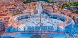 Famous Saint Peter's Square in Vatican and aerial view of the city - Rome, Italy