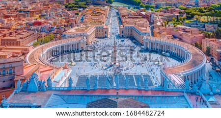 Photo of  Famous Saint Peter's Square in Vatican and aerial view of the city - Rome, Italy