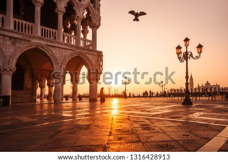 famous San Marco at sunrise. Square. Venice, Italy #1316428913