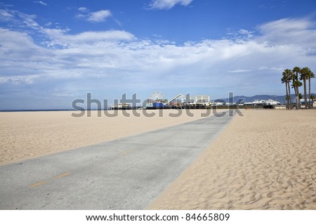 Famous Santa Monica beach bike path and amusement pier.