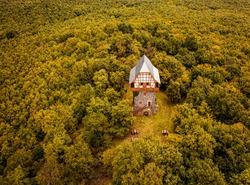 Famous Sasbérc-lookout at Buják, Hungary in autumn