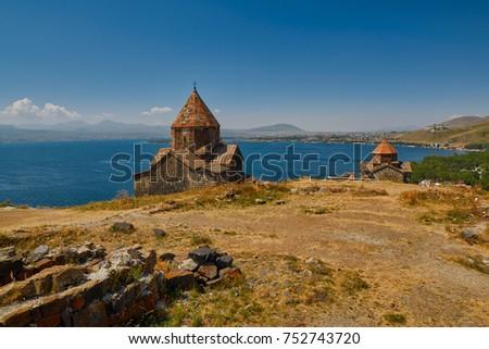 Famous Sevanavank Monastery on Sevan Lake in Armenia #752743720