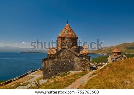 Famous Sevanavank Monastery on Sevan Lake in Armenia #752965600