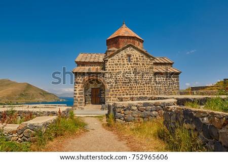 Famous Sevanavank Monastery on Sevan Lake in Armenia #752965606