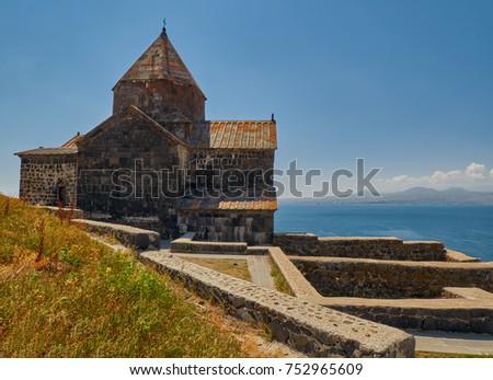 Famous Sevanavank Monastery on Sevan Lake in Armenia #752965609