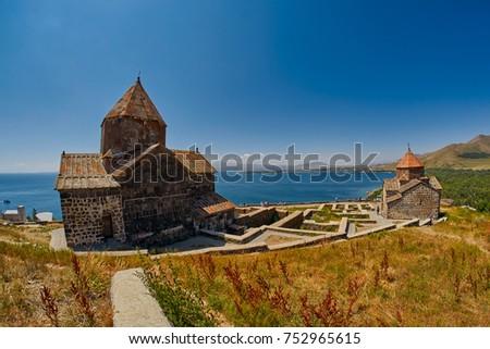 Famous Sevanavank Monastery on Sevan Lake in Armenia #752965615