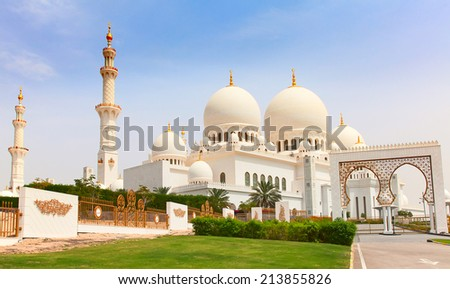 Famous Sheikh Zayed mosque in Abu Dhabi United Arab Emirates