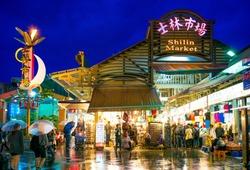 Famous Shilin night market in Taipei, taiwan