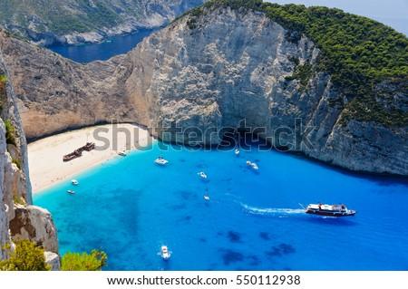 Famous shipwreck bay, Zakynthos island, Greece #550112938