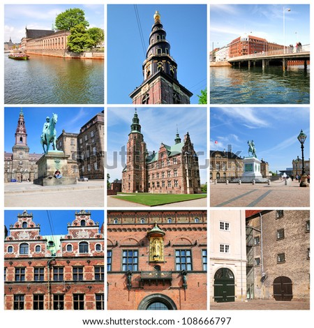 Famous sights of Copenhagen. Denmark