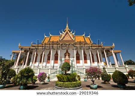 Famous Silver Pagoda inside the royal palace grounds Phenom Phen Cambodia - stock photo