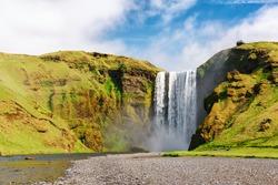 Famous Skogafoss waterfall on Skoga river. Iceland, Europe. Landscape photography