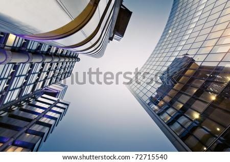 Famous skyscrapers in the financial district of London #72715540