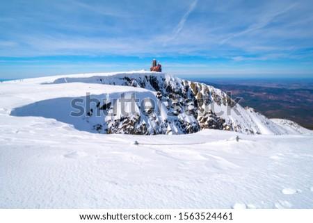 famous sniezne kotly (Great Snowy Pit), Giant Mountains (czech: Krkonose, pol: Karkonosze) during winter, Sudety on Czech-Polish border Zdjęcia stock ©