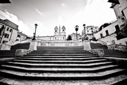 Famous Spanish Steps looking very quiet, Rome, Italy