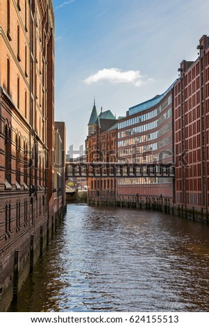 Famous Speicherstadt warehouse district with blue sky in Hamburg, Germany #624155513