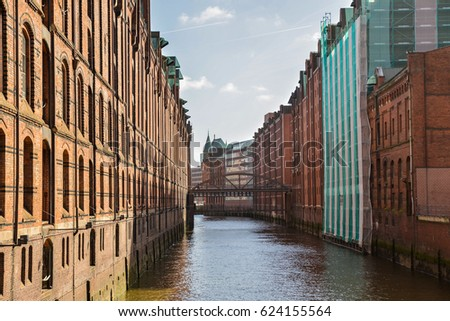 Famous Speicherstadt warehouse district with blue sky in Hamburg, Germany #624155564