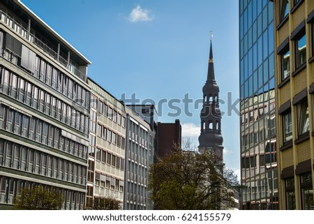 Famous Speicherstadt warehouse district with blue sky in Hamburg, Germany #624155579