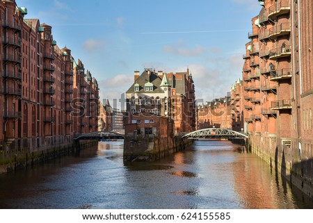Famous Speicherstadt warehouse district with blue sky in Hamburg, Germany #624155585