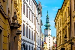 Famous St. Michaels watch tower and gate in the old town of Bratislava city, Slovakia