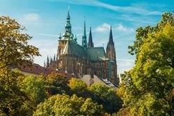 Famous St. Vitus Cathedral Prague, Czech Republic. Sunny day
