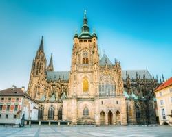 Famous St. Vitus Cathedral Prague, Czech Republic. Sunny evening