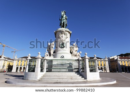 famous statue on commerce square in Lisbon