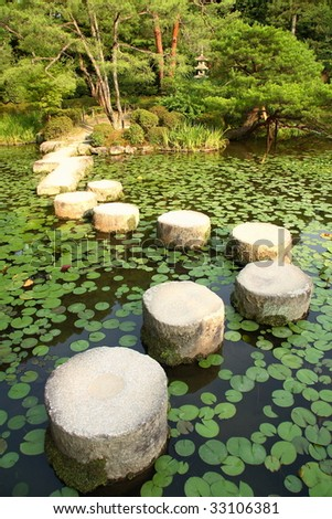 Famous stepping stones in the lake oh Heian Shrine (Kyoto, Japan)