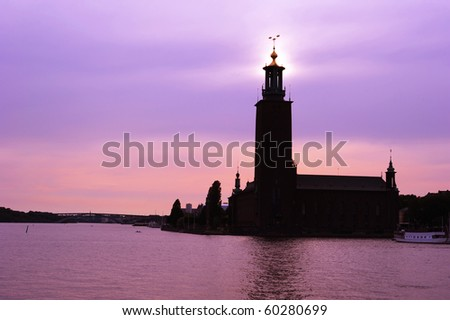Famous Stockholm City Hall at sunset. Sweden