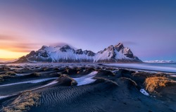 Famous Stokksness beach in Iceland during sunset