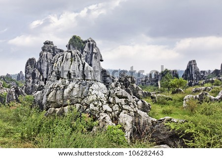 Famous Stone Forrest in Kunming, the capital of Yunnan Province, China