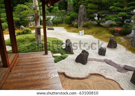 Famous stone gardens of Kyoto - stock photo