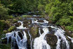Famous Swallow Falls on river Llugwy near Betws-y-Coed, North Wales