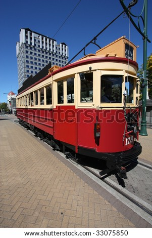 Famous symbol of Christchurch, New Zealand. Red, vintage tramway. Tourist attraction.