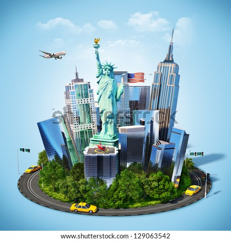 Famous symbols of New York city. Traveling to America - stock photo