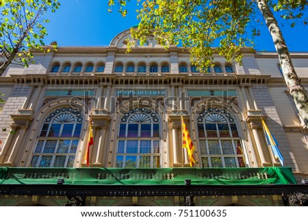 Famous Teatre Del Liceu, opera house in Barcelona, Catalonia, Spain. Zdjęcia stock ©
