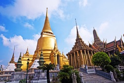famous temple Phra Sri Ratana Chedi covered with foil gold in the inner Grand Palace