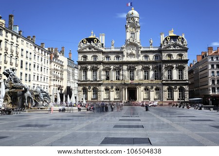 famous Terreaux square in Lyon city, France - stock photo