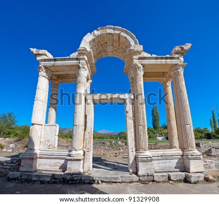 Famous Tetrapylon Gate in Aphrodisias dedicated to Aphrodite built during Hellenic era. In Roman time it was a small city in Caria.