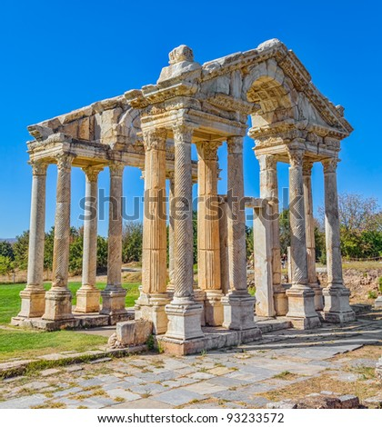 Famous Tetrapylon Gate in Aphrodisias (Turkey) dedicated to Aphrodite built during Hellenic era. In Roman time it was a small city in Caria.