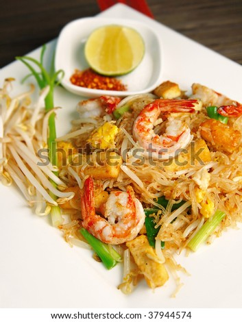famous Thai's dish Phad thai. Fried noodle with shrimp.
