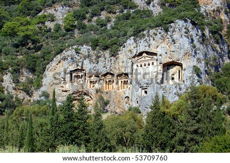 Famous tombs carved inside rocks in ancient Kaunos city, Turkey.