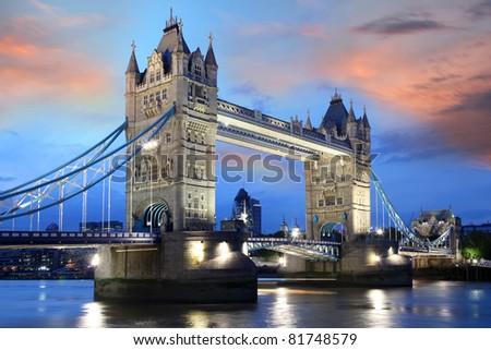 Famous Tower Bridge at night London, UK - stock photo