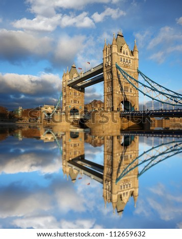 Famous Tower Bridge in beautiful day, London, England