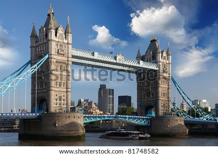 Famous Tower Bridge in  London, UK