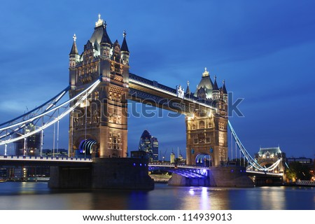 stock photo famous tower bridge in the evening london england 114939013 - Каталог — Фотообои «Мосты»