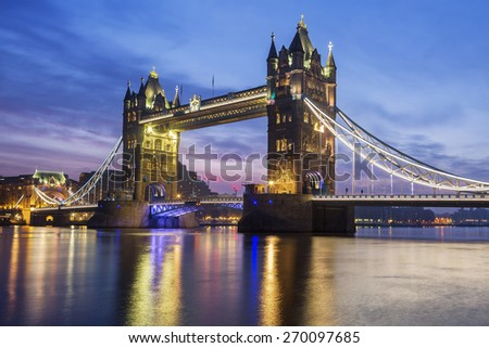 Famous Tower Bridge in the evening, London, England
